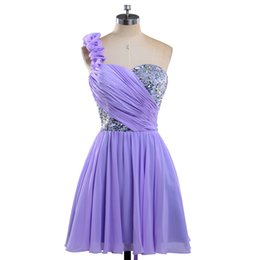 Hot Sale 2017 Sexy One Shoulder Pleated Custom made Lilac Short Lace up back Cocktail Dresses