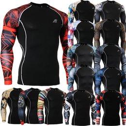 Wholesale Advanced D Male Print Compression Shirt Slim Fit Skins Tight Long Sleeve Men s Bodybuilding Crossfit MMA Champion Shirt S XL
