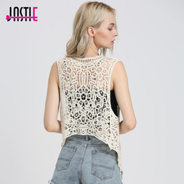 Jastie Asymmetric Open Stitch Cardigan Summer Beach Boho Hippie People Style Crochet Knit Embroidery Blouse sleeveless Vest Top