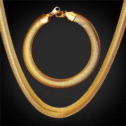 U7 Gold Snake Chain Necklace Bracelet Jewelry Set with 18K Stamp Fashion Men Jewelry 18K Real Gold Plated Bracelet Necklace Set GNH2238