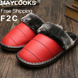 2017 Winter Warm Indoor Shoes Thick Slippers Women Furry Slippers Waterproof Genuine Leather Slippers Free Shipping