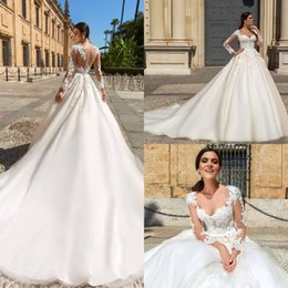 New Country Sheer Neck Illusion Long Sleeve A Line Wedding Dresses 2019 Lace Applique Court Train Bridal Gowns Wedding Dress Custom Made