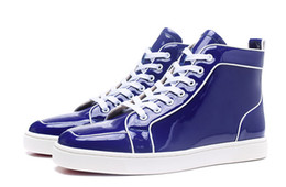 haut de brevet Promotion New 2017 Cheap Red Bottom Sneakers Hommes Femmes Marque Chaussures Blue Patent Leather Flat Shoes Hommes Haut Haut Baskets Hommes Party Chaussures