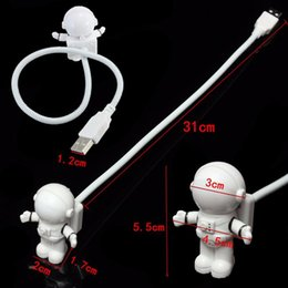 Wholesale Flexible Spaceman Astronaut USB Tube ABS PC Mini LED Night Light White Lamp For Computer Laptop PC Notebook Reading Portable
