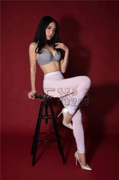 Wholesale Shiny Pants Women Tight - Plus Size Sexy Ice Silk See Through Open Crotch Pencil Pants Transparent Capris Tight Sexy Hips Shiny Glossy Pants FX22