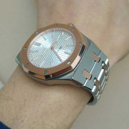 Al por mayor-envío gratuito de lujo de acero inoxidable mecánico automático de vidrio trasero zafiro espejo reloj hombre reloj