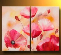 Hand Painted Oil Painting Pink Poppies-Modern Oil Painting On Canvas Art Wall Decor-Floral Oil Painting Wall Art