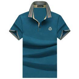 2017 Summer New Casual Lapel T-shirt free Shipping Short-sleeved Men's 100% Mercerized Cotton Xxxl Green Sapphire Blue Red Brand Men