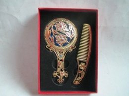 Wholesale Exquisite beautiful Ancient Chinese Tibetan copper comb and mirror set