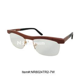 half frame wooden optical eyeglasses