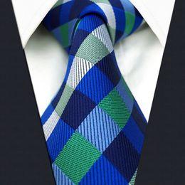 U12 Blue Green Checkes Mens Ties Silk Handmade Wedding Fashion Classic Brand New Dress Men's Accessories Necktie