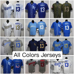 Salvador Perez Kansas City Royals Jerseys All Colors White Gray Black Light Blue Olive Cooperstown Majestic Cool Flex Base Baseball Jersey