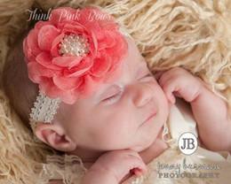 New Baby girl Lace Chiffon flower Headbands 2015 Pearl Rhinestone elastic headbands for girls Infant headdress Children Hair Accessories