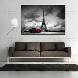 Hot sell large canvas art black and white paintings modern abstract art Eiffel Tower wall decorations living room picture on wall
