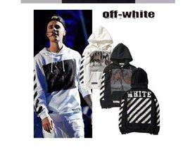Wholesale 2016 OFF WHITE Justin ratio women mens pullover stripe offset print hoodies fleece Sweatshirts brand hoodie Vision religion painting