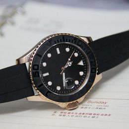 Regarder bracelet en caoutchouc noir à vendre-Rose montre en or bracelet bracelet en caoutchouc noir bracelet en céramique en céramique lunette en céramique luxe hommes montre-bracelet 116655