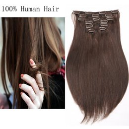 Wholesale Women Sexy Long Straight Clip In Human Hair Extensions 7pcs set Colored Straight Crochet Wholeasle Price Optional Color