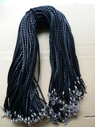Wholesale 18 mm Black PU Leather Braided rope Braid Necklace Cords With Lobster Clasp For DIY Jewelry Neckalce Pendant Craft Jewelry