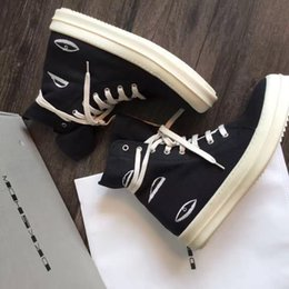 Broderie chaussures plates en Ligne-TOP 1: 1 qualité 17ss DRKSHDW noire trois yeux broderie chaussures de lacet de toile géante TPU unique haut de luxe haut-top flats chaussures casual