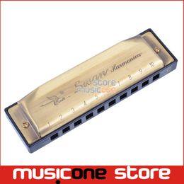 Grossiste en laiton Bronze couleur Vintage Swan SW1020-8 Harmonica Blues Diatonique Harps C Tune avec boîte de tissu propre supplier diatonic harmonica c swan à partir de harmonica diatonique c cygne fournisseurs