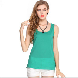 Many color Wholesale 2017 Fashion Summer Women Plus Size transparent Loose Sleeveless Chiffon Vest Shirt Green Woman Casual Blouse T-shirt
