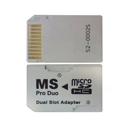 Micro SD HC à Memory Stick Carte MS Pro Duo Dual 2 Slot Adapter pour Sony PSP 1000 2000 3000 WA2386 à partir de adaptateurs duo memory stick fabricateur