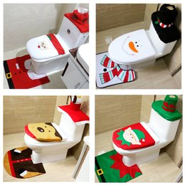 Wholesale 3pcs Fancy Santa bathroom toilet seats cover toilet seat cover and rug bathroom set christmas decorations happy santa toilet seat