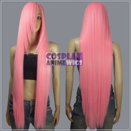 100cm Light pink Heat Styleable long Cosplay Wigs 85_LLP