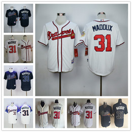 Throwback Atlanta Braves #31 Greg Maddux 1995 Vintage MLB Baseball Jerseys Cream Blue White Top Quality on Sale