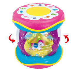 Wholesale Early childhood carousel intelligent drum Charging band microphone Souptoys Multifunctional hand beating drumEarly childhood story machin