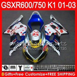 8 Gifts 23 Colors Body For SUZUKI GSX-R600 GSXR600 GSXR750 01 02 03 8HM38 gloss white GSX R600 R750 K1 GSXR 750 600 2001 2002 2003 Fairing