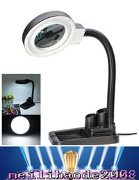Wholesale Lighted Desk Magnifiers - 2017 new New Arrival High Quality Magnifying Crafts Glass Desk Lamp With 5X 10X Magnifier & 40 LED Table Lighting MYY