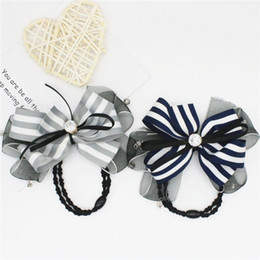New Women Hair Accessories Lace Fabric Bowknot Bar Across Multicolor Elastic Hair Rubber Bands Rhinestone Hair Jewelry