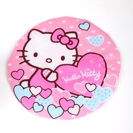 Acheter en ligne Cheveux amicale-Vente en gros - 2017 Nouveau capuchon de douche pour cheveux Hello Kitty Coréenne Cartoon Kt Cat Cataponeau imperméable créatif anti-poussière Huile de cuisson à l'huile Thick Style 1pcs