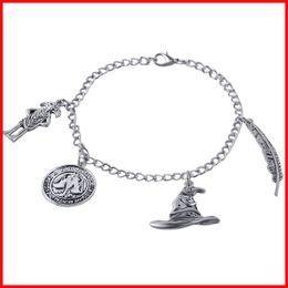 Wholesale Nuevo Harry Potter Talking Hat moneda de banco Charm Brazaletes Mano Cuff para las mujeres Pulsera pulsera de la película de la joyería