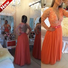 Wholesale Elegant Long Coral Evening Dresses V Neck Pearls Lace Formal Evening Gowns Sexy Hollow Back Formal Party Dress