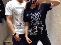 Wholesale 2017 summer new men and women short sleeved t shirt black and white Bambi printing cotton Slim leisure