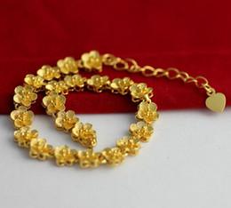 Fast Free Shipping Fine 18k gold Bracelets length:18cm ,weight:7g Gold flower bracelet chain