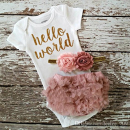 2017 ins new arrivlas baby girl hello world letter print tomper+pp pants 2pcs outfits kids cotton clothes suit for 0-2T