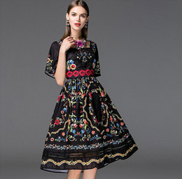 High Quality New Arrival 2018 Women's Square Neckline Short Sleeves Floral Printed Embroidery Elegant Runway Dresses in 2 Colors