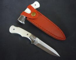 Wholesale Top qualité Nouveau The One Mini té pliante poignée blanche couteau Cr15 HRC Satin Blade EDC couteau de poche avec gaine en cuir