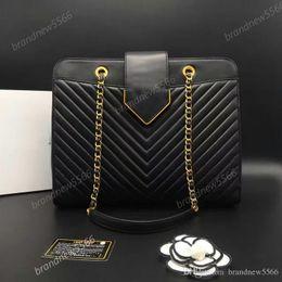 2017 chaîne grand sac NOUVEAU 2016 Cuir de veau original Grand sac à bandoulière en Chevron Sac en cuir noir en métal doré peu coûteux chaîne grand sac