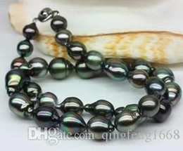Stunning 10-11mm Natural Tahitian Baroque Black Pearl Necklace 18 Inch 925 Silver Clasp