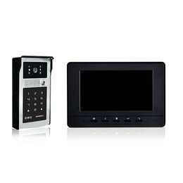 Wholesale wired villa video door phone inch black cover unlock by password and swipe card rainproof intercom system