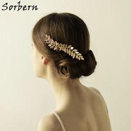 Sorbern Boho Style Design Wedding Headpiece 2018 New Bridal Tiara Gold Pearl Flower Wedding Bridal Hair Combs Vintage Women Hair Accessories