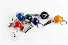 Wholesale Billiard Ball Smoking Pipe Portable Keychain Crocodile Clip Zinc Snooker Table Ball Key Ring Pendant Holder Mixed Color Number Mini
