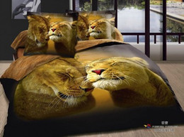 Animal bedding 3D paintings of individual character vogue cotton reactive printing Bedding 4 Pieces leopard lion