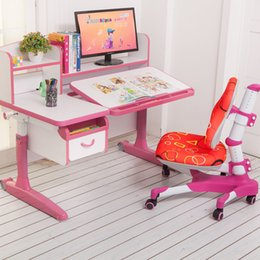 Wholesale furniture new arrivals multi function Children learn table adjustable safe non toxic harmless desk children furniture pink