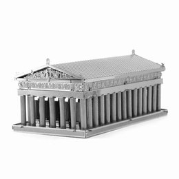 Wholesale D Metal Puzzles DIY Assembly The Temple of Athens World s Landmark Building Model Toys Jigsaws Educational Metal Earth Gift