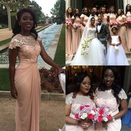 Elegant Sequins Chiffon Long Bridesmaid Dresses New African Arabic A Line Pleats Pink Cap Sleeves Jewel Neck Evening Prom Gowns
